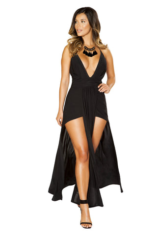Roma Clubwear Black Low Neck Maxi Length Dress with Long Panel