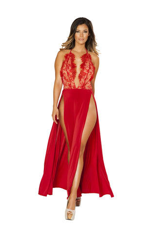 Roma Clubwear Red Maxi Length High Slit Dress with Eyelash Lace Detail