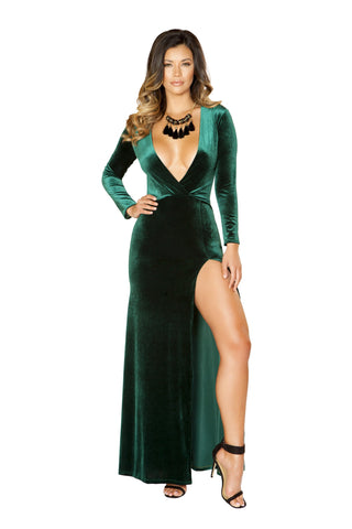 Roma Clubwar Green Maxi Length Low Neck Velvet Dress with High Slit