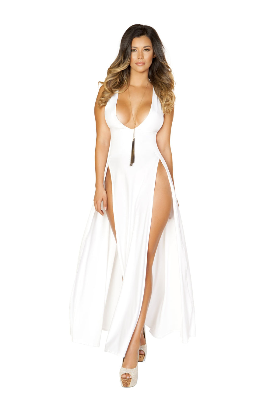 Roma Clubwear Maxi Length Dress with Front Slits