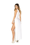 Roma Clubwear Maxi Length Dress with Front Slits Back