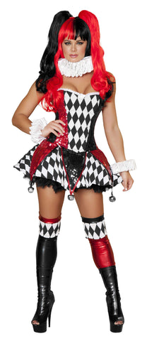 3pc Court Jester Cutie - Black/Red/White