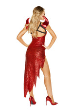 4866 - Roma Costume 1pc Devil Mistress Red Evil Lucifer Satin Sexy