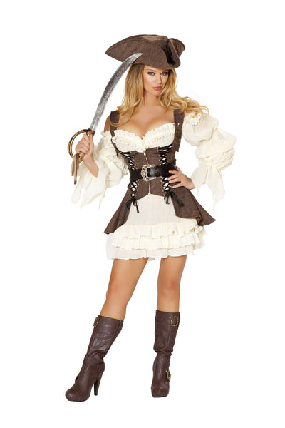 4pc Naughty Ship Wench - Brown/White