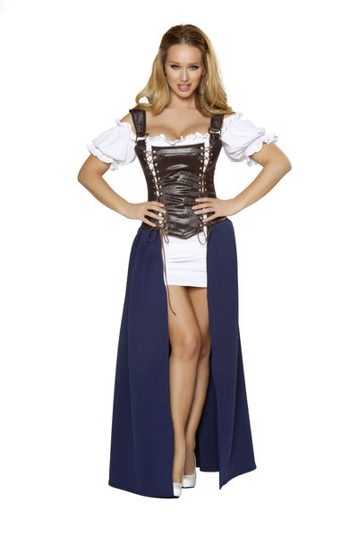 4pc Seductive Serving Wench - Brown/Blue/White