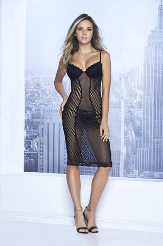 Sexy Lace Babydoll With Fishnet Panels - Fashion