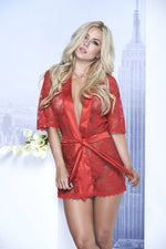 Short Lace Robe With Satin Collar And Belt - Fashion