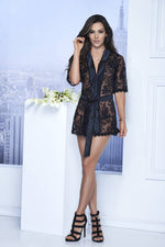 Short Lace Robe With Satin Collar And Belt - Womens Fashion