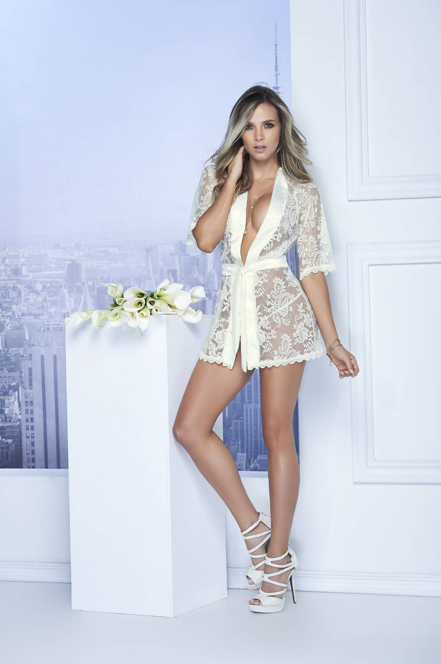 b5758baf06 Mapale Women Short Lace Robe With Satin Collar And Belt 7115 ...
