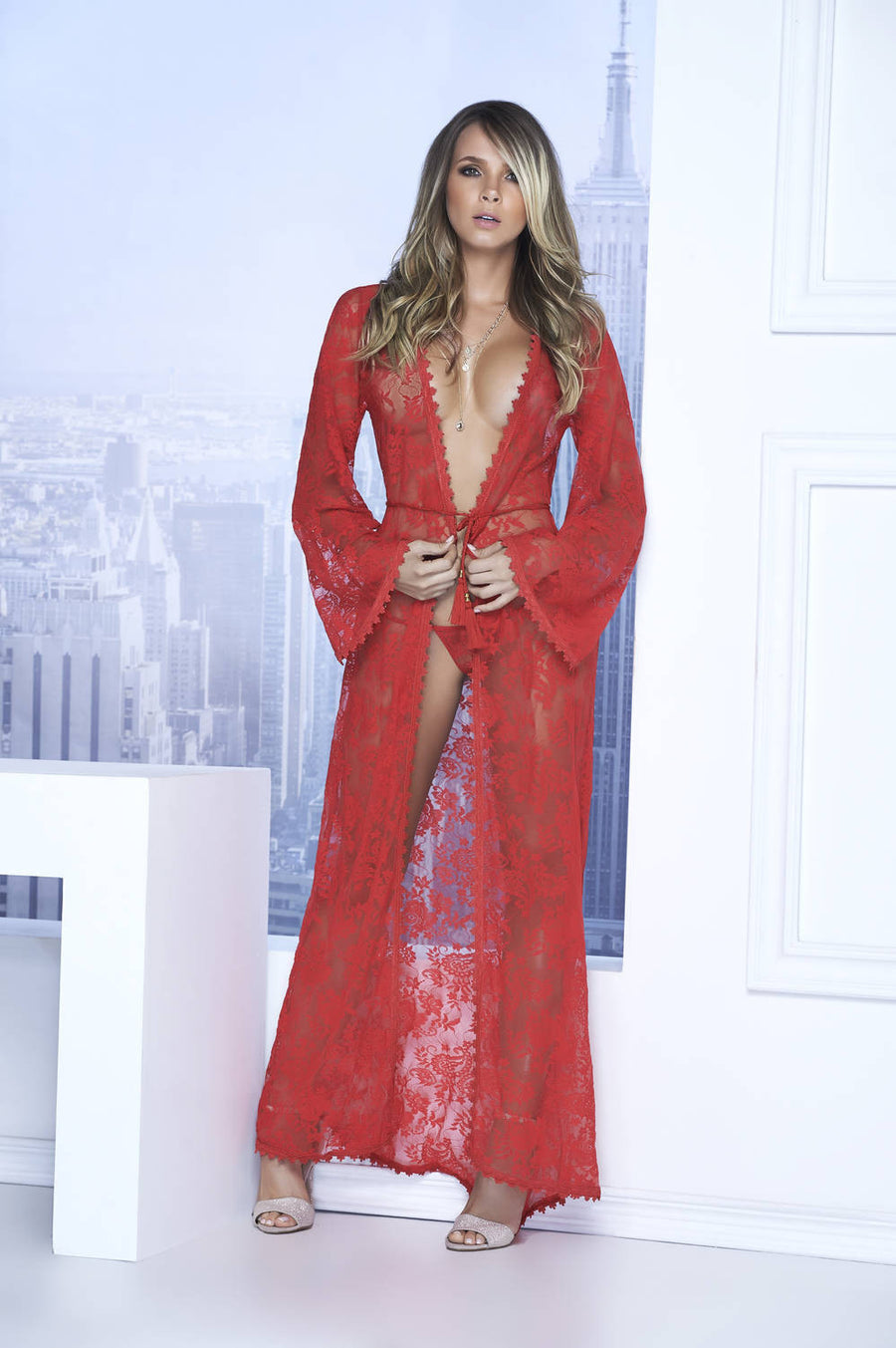 Long Lace Robe With Tassel Belt And G-String - Fashion