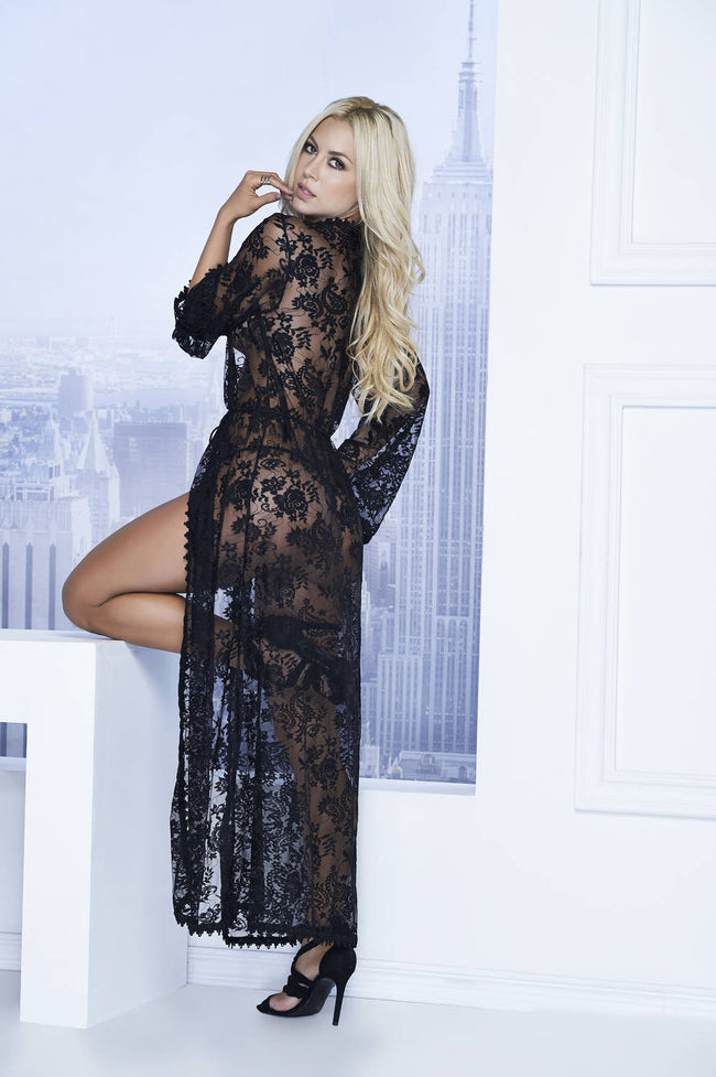 Long Lace Robe With Tassel Belt And G-String - Womens Fashion