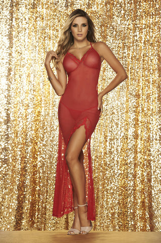 Long Mesh Gown With G-String - Fashion