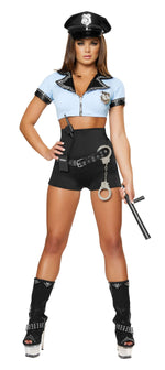 8pc Sexy Police Woman - Black/Blue
