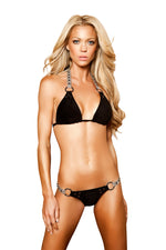 J Valentine Women's Faux Suede with Faux Leather and Ball Stud Trim Bikini