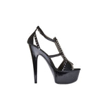 "6"" Platform With Rhinestones And Ankle Strap-Black Kid PU-AMBER-211"