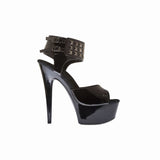 "6"" Platform With Plain Vamp And Studded Ankle Cuff-Black Patent PU-AMBER-27""1"