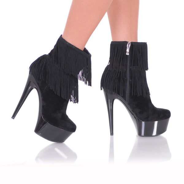 "6"" Micro Suede Close Toe Ankle Bootie With Fringe Detail-Black Suede PU-AMBER-4""01"