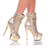 "6"" Open Toe Sequin Bootie With Side Zip"