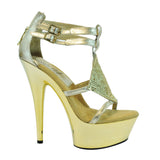 "6"" Platform With Disco Ball Strap And Double Ankle Strap"