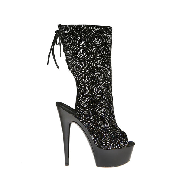 "6"" Calf Bootie With Cut Out Heel And Lace Up Back"
