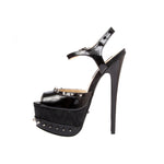 "6""  3""/4""Sandal With Spiked Topline And Platform-Black Patent PU-BOMBSHELL-11"
