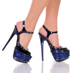 "6""  3""/4""Sandal With Spiked Topline And Platform-Navy Patent PU-BOMBSHELL-11"