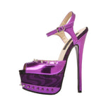 "6""  3""/4""Sandal With Spiked Topline And Platform-Purple Metallic PU-BOMBSHELL-11"