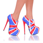 "6 3/4"" Union Jack Bootie W/ 2"" Platform And Side Zip"