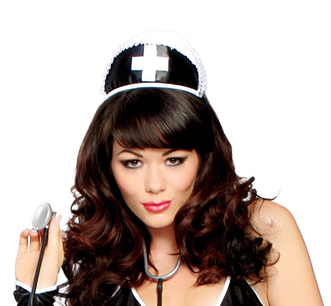 Black Nurse Hat with Cross