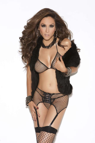 Bra top, garter belt and g-string  Black One Size
