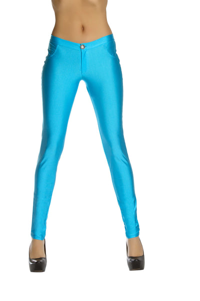 Button Front Pants w/ Pocket Detail - Turquoise