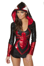 J Valentine CA110 Black Widow Hooded Romper Costume