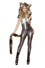 J Valentine CA143 Silver Leopard Hooded Catsuit with Tail