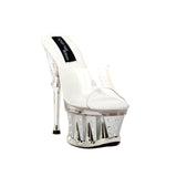 "6""  1/2Clear Vinyl Mule Platform With Rhinestone Details-Silver Bottom/Clear-CHANTEL-11"