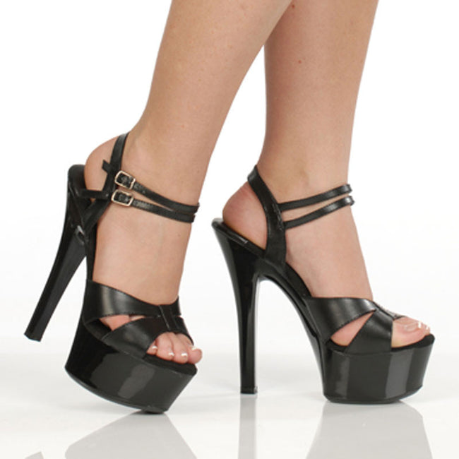 "6"" Platform Sandal-Black Kid PU-CHRISTINE"