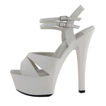 "6"" Platform Sandal-White Kid PU-CHRISTINE"