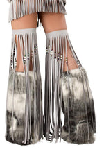 J Valentine CS218 Silver Indian Beaded Fringe Leggings