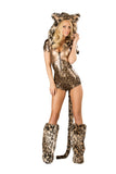 J Valentine CS230 Bronze Leopard Hooded Romper with Tail