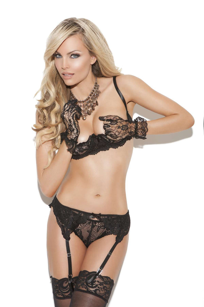 Cupless lace bra with adjustable straps and back closure