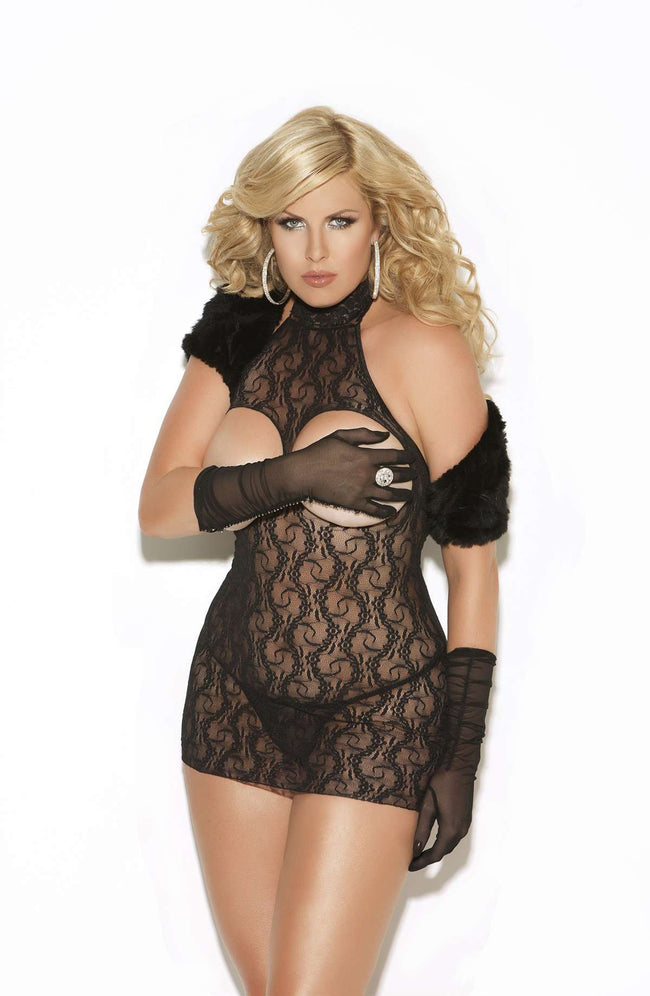 Cupless lace dress Black Queen Size