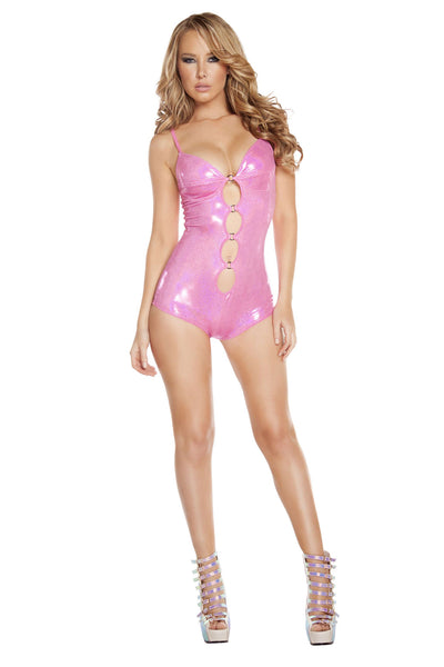 Cut-out Romper w/ O-Ring Detail - Hot Pink