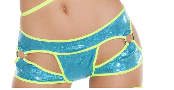 Cut-out Thong/Shorts w/ O-Rings - Turquoise/Yellow