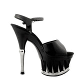 "6""  3""/4""Platform With Shark Teeth Bottom And Plain Upper-Black Patent PU-DANGER-11"