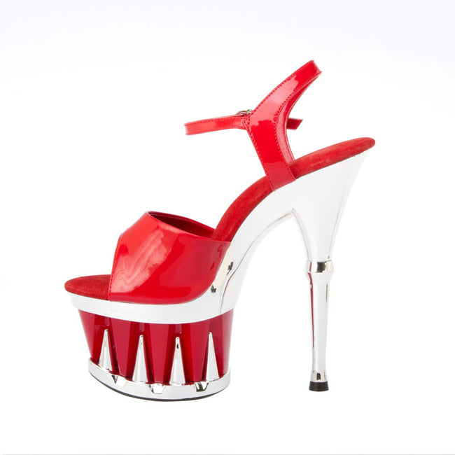 "6""  3""/4""Platform With Shark Teeth Bottom And Plain Upper-Red Patent PU -DANGER-11"