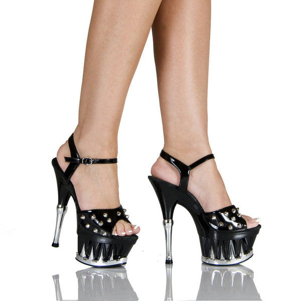 "6""  3""/4""Platform With Shark Teeth Bottom And Spiked Upper-Black Patent PU-DANGER-21"