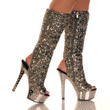 "6"" Drilled Diamond Plat With Sequin Calf High Upper"