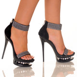"5""1/2Suede Platform Sandal Covered With Rhinestones-Black Nubuck Suede-DIAMOND-11"