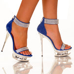 "5""1/2Suede Platform Sandal Covered With Rhinestones-Royal Blue Nubuck-DIAMOND-11"