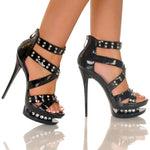"5""1/2Platform Sandal With Rhinestone Inset-Black Soft PU -DIAMOND-21"