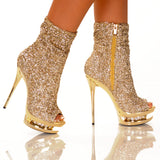 "5 1/2"" Open Toe Sequin Bootie With Rhinestone Platform Inset"